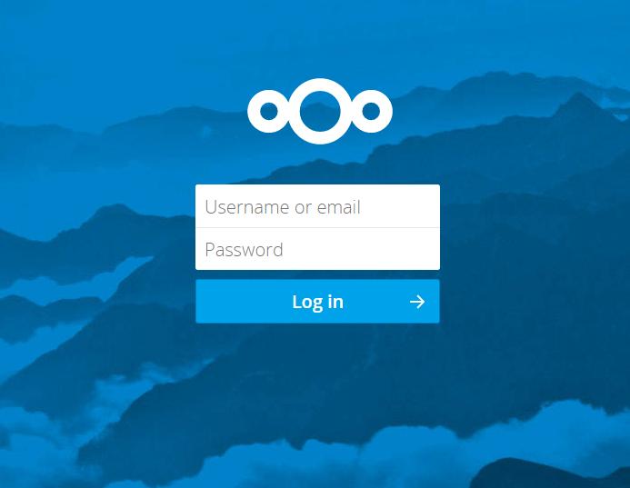 Nextcloud login screen